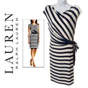 Lauren Ralph Lauren Stripe Tie-Side Dress EUC - 10